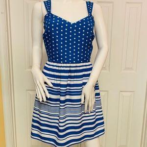 Blue and White A-Line Dress